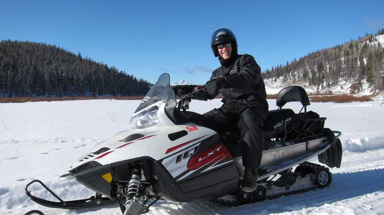 Snowmobiling in Winter in Jackson Hole