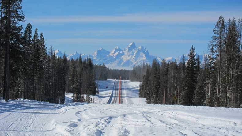 A wintry road in Wyoming