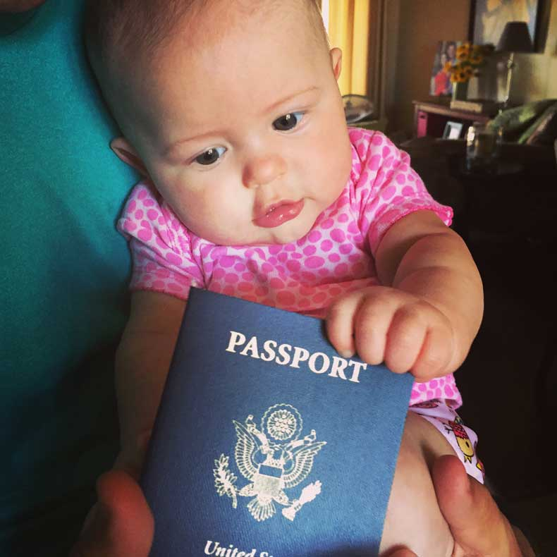 Traveling with a baby - passport photo for baby